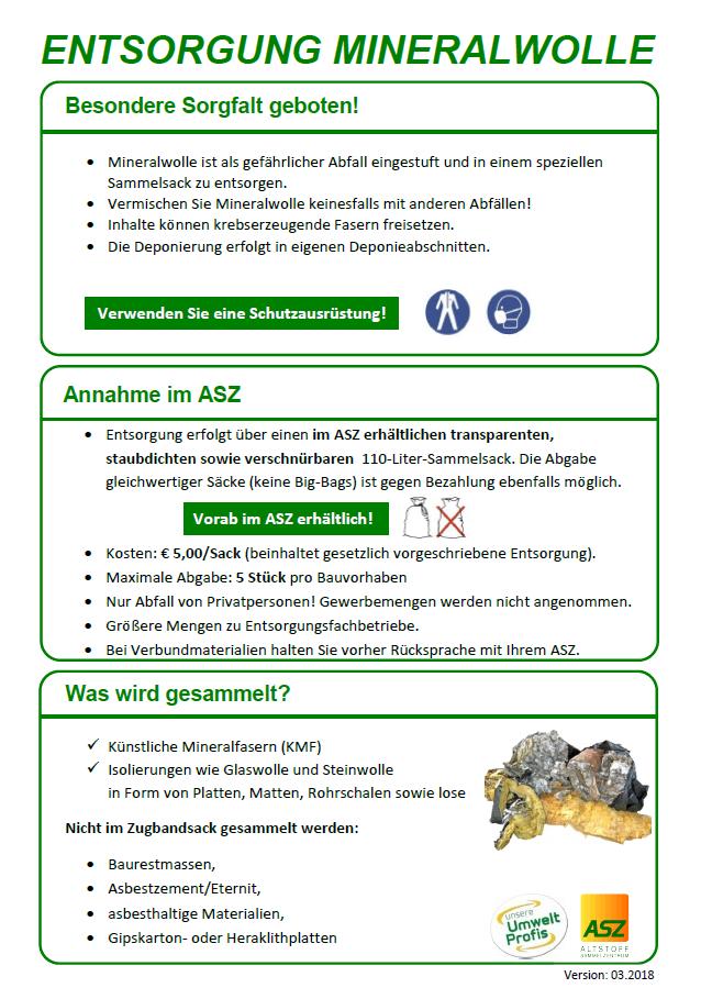 Extrem Entsorgung Mineralwolle - Herzlich willkommen in Wilhering UU55